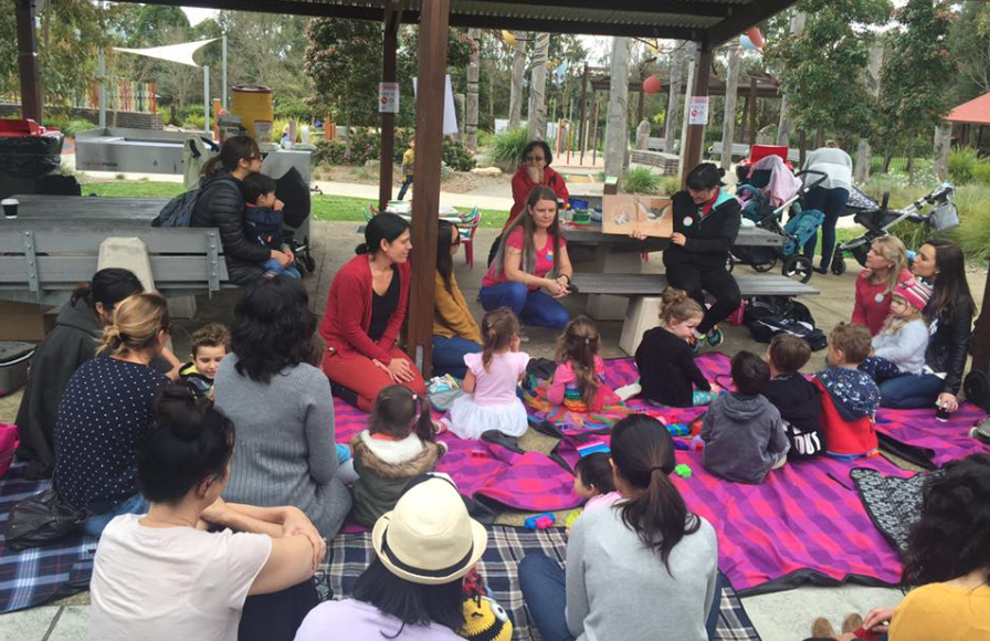Story time and craft at Livvi's Place, Yamble Reserve