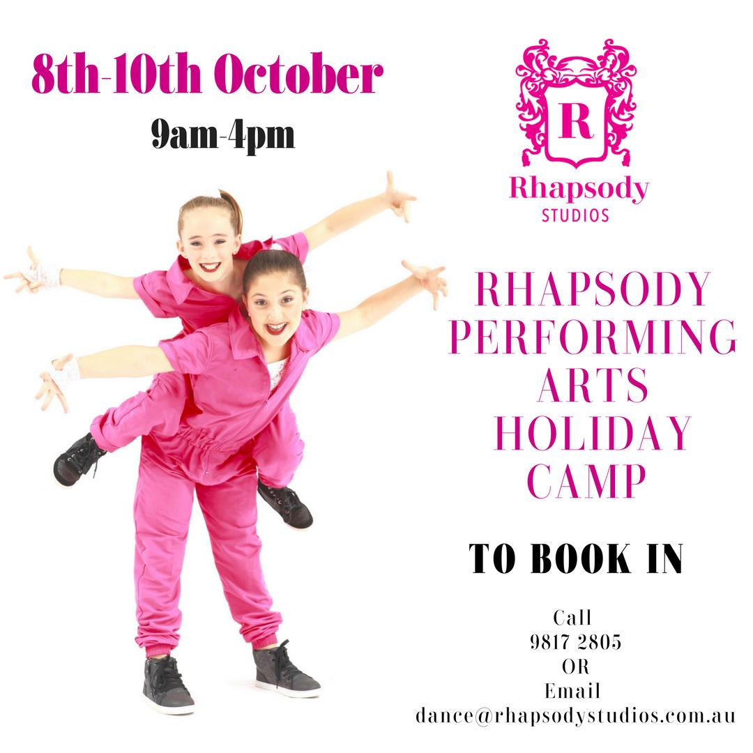 Rhapsody Studios – October School Holidays Activities Guide