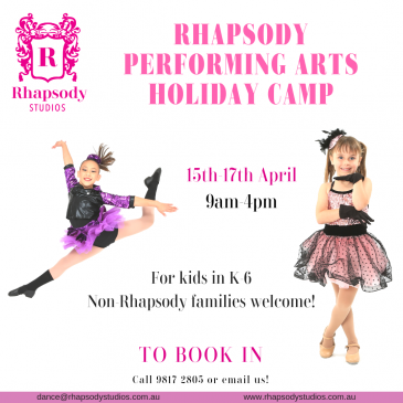 Rhapsody Studios – April School Holidays Activities Guide