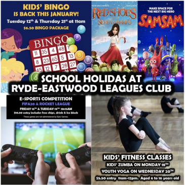 Ryde-Eastwood Leagues Club – December / January School Holidays Activities Guide