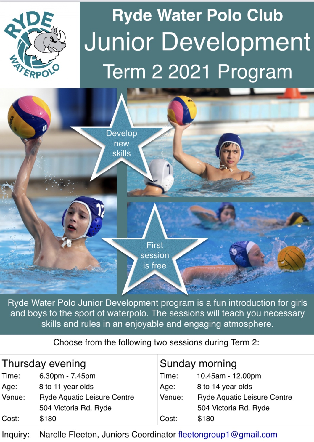 Kids Learn to play water polo 8-14 yrs